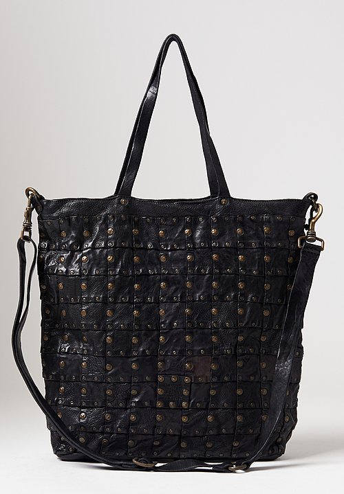 Campomaggi Patchwork Studded Shopping Bag in Black