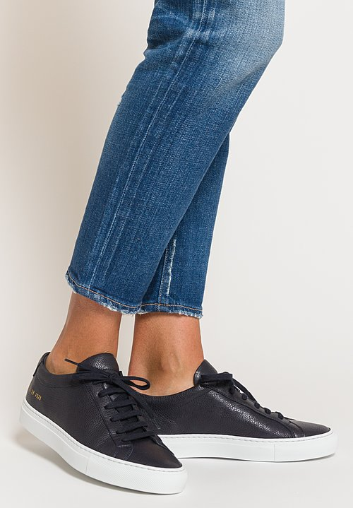 Common Projects Original Achilles Low Premium Sneakers in Navy