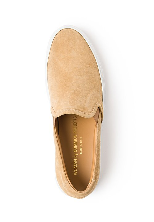 Common Projects Suede Slip-On Shoes in Tan