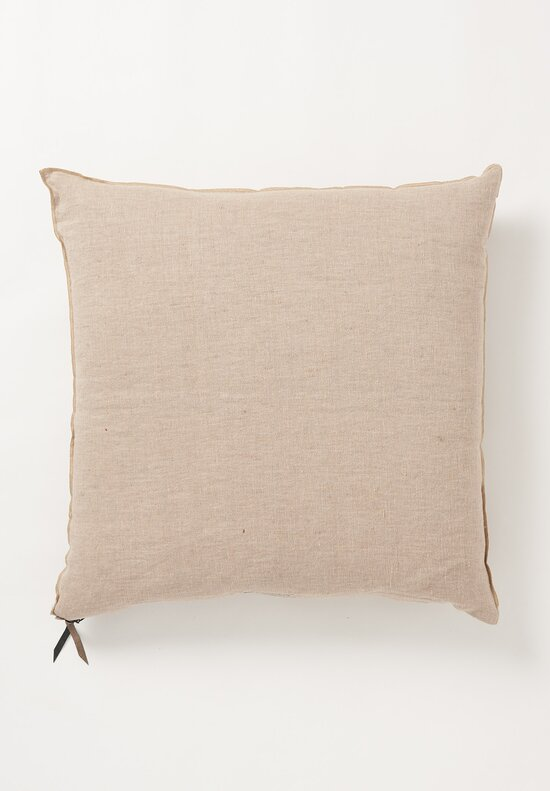 Maison de Vacances Large Crumpled Washed Linen Pillow in Taupe/ Ciment