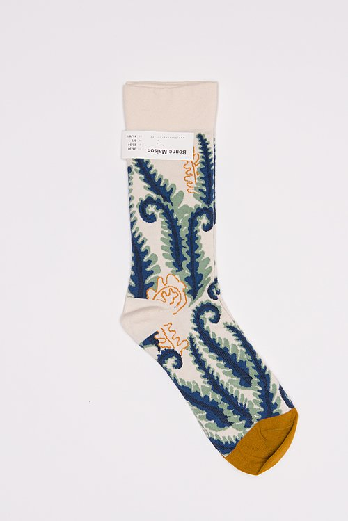 Bonne Maison Calf Length Socks in Fern/Natural