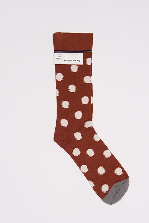 Bonne Maison Calf Length Socks in Spots/Sepia