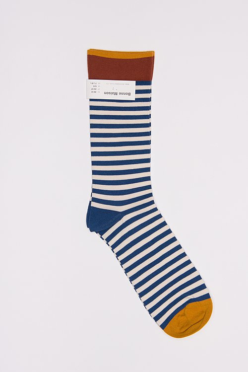 Bonne Maison Calf Length Socks in Stripe/Denim