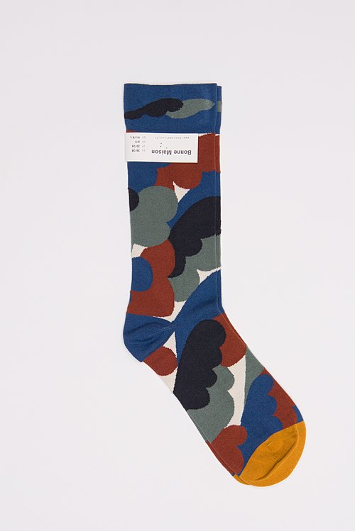 Bonne Maison Calf Length Socks in Camouflage/Natural