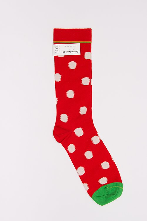 Bonne Maison Calf Length Socks in Spots/Sanguine