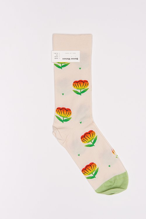 Bonne Maison Calf Length Socks in Flower/Natural
