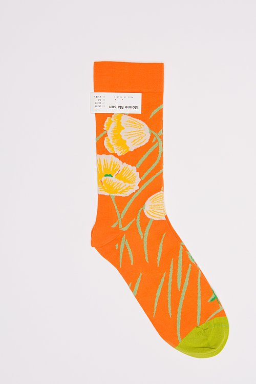 Bonne Maison Calf Length Socks in Poppy/Zest