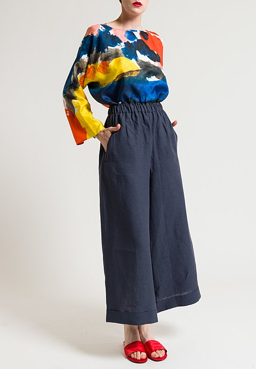 Daniela Gregis Linen Lightweight Pants in Indigo Blue