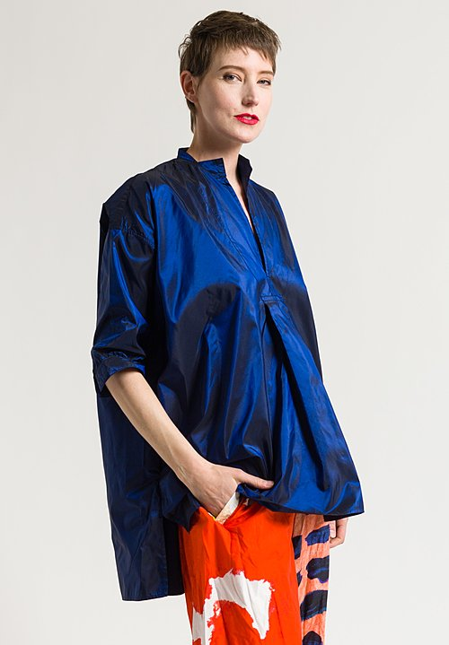 Daniela Gregis Silk Kora Top in Electric Blue