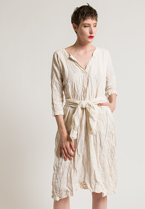 Daniela Gregis Washed Linen 3/4 Sleeve Dress in Light Yellow