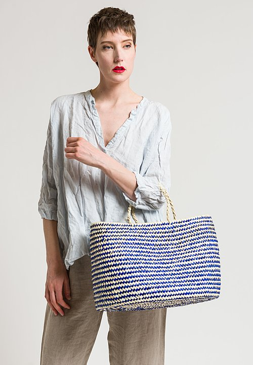 Daniela Gregis Woven Stripped Basket in Blue/Natural