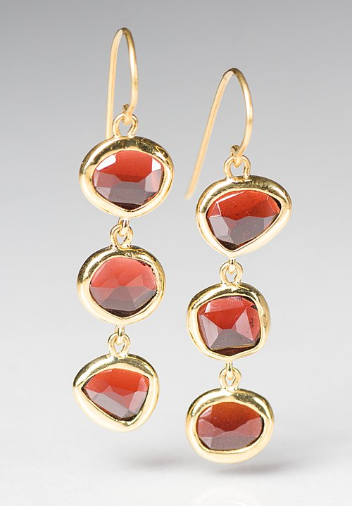 Greig Porter Red Garnet 3 Drop Earrings