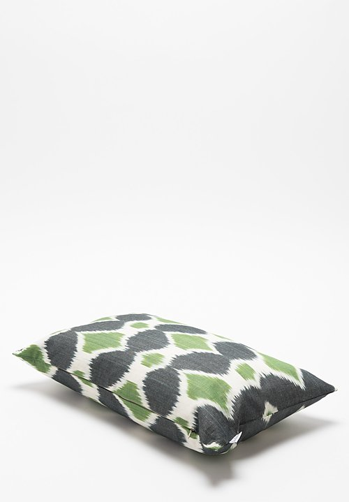 Les-Ottomans Ikat Print Pillow in Green
