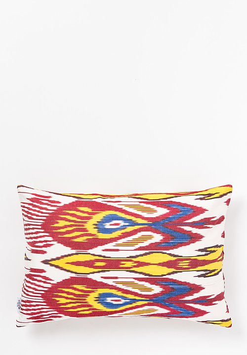 Les-Ottomans Ikat Print Pillow in Red Multi/ White