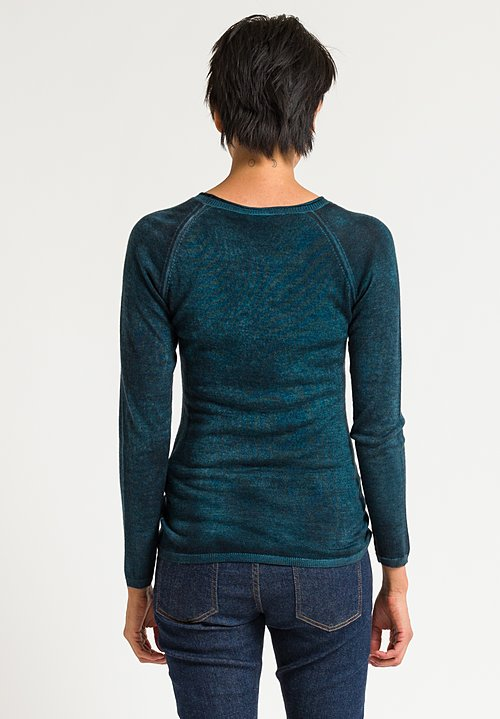Avant Toi Raglan Sleeve Fitted Sweater in Turquoise