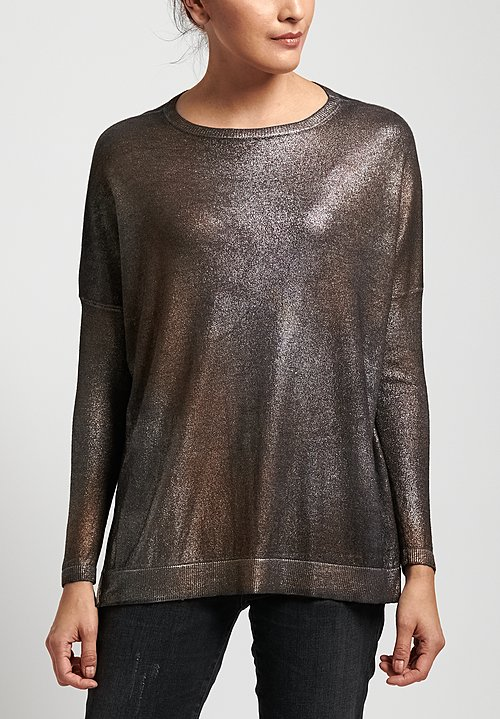 Avant Toi Metallic Oversized Sweater in Black/Silver