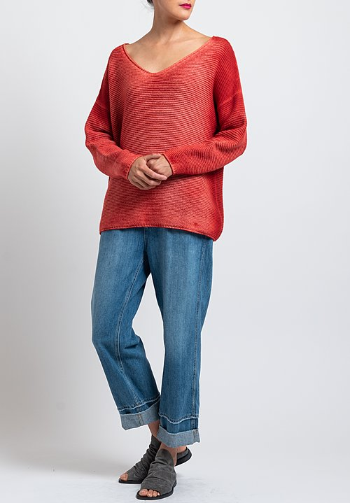 Avant Toi Relaxed V-Neck Ombre Sweater in Orange