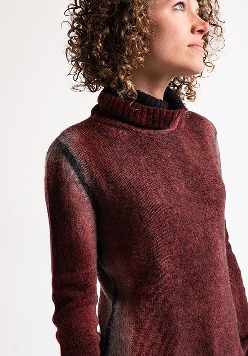 Avant Toi Turtleneck Ombre Sweater in Coral
