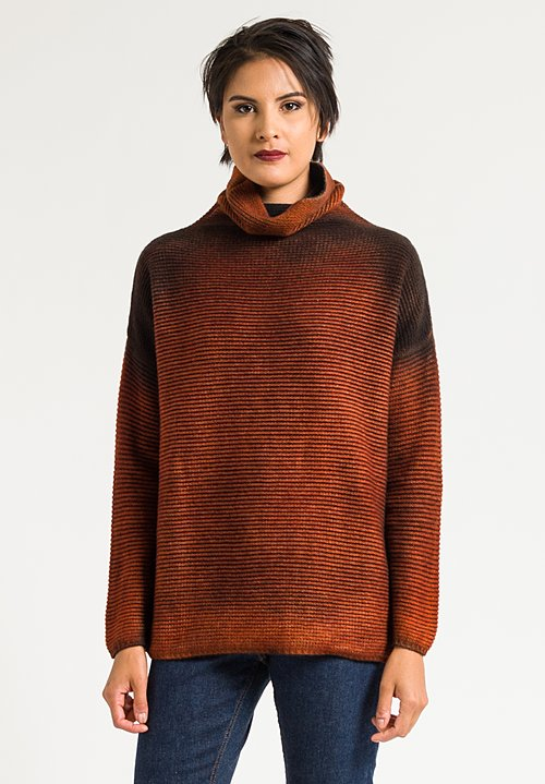 Avant Toi Wool/Cashmere Turtleneck Ombre Sweater in Equator/Black