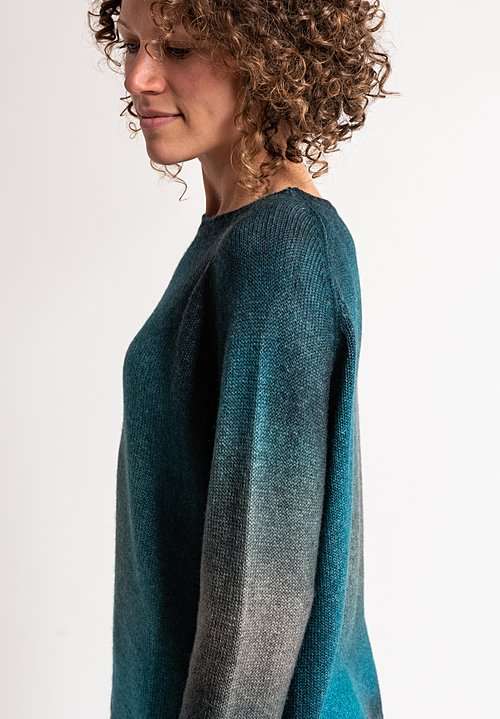 Avant Toi Ombre Sweater in Turquoise