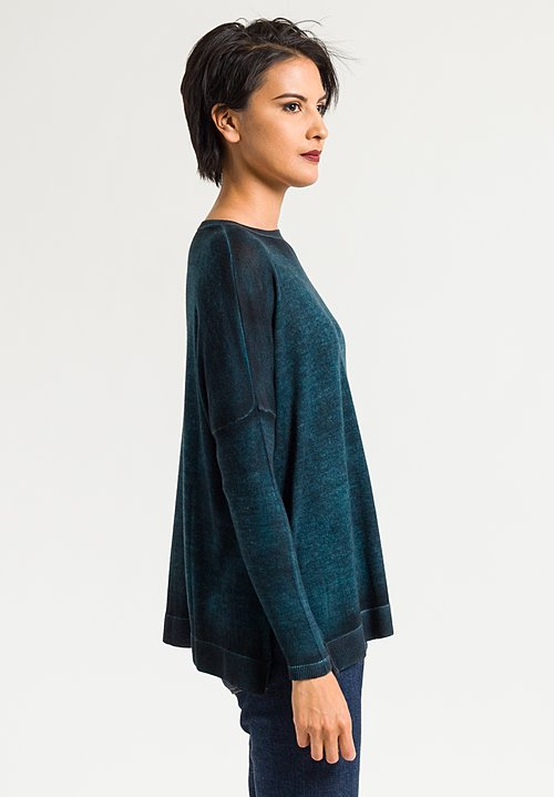Avant Toi Relaxed Lightweight Sweater in Turquoise/Black