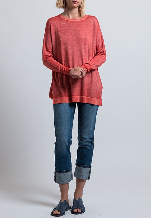 Avant Toi Relaxed Lightweight Sweater in Coral