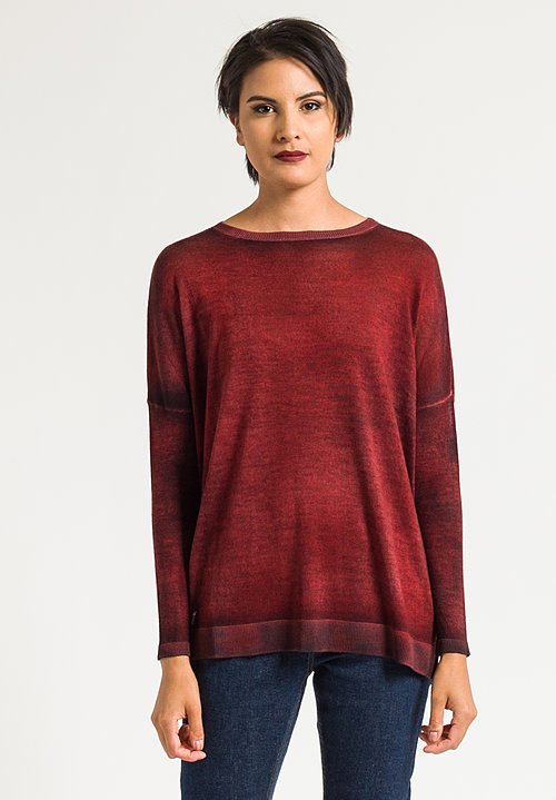 Avant Toi Relaxed Lightweight Sweater in Coral/Black