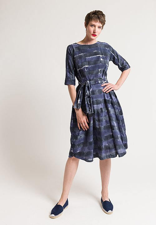 Daniela Gregis Hand Painted Perla Dress in Blue Mix