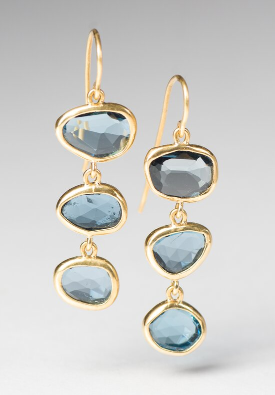 Greig Porter London Blue Topaz 3 Drop Earrings