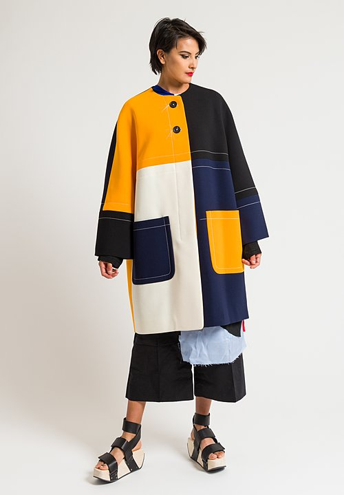 Marni Double Face Crepe Coat in Light Orange/ Navy