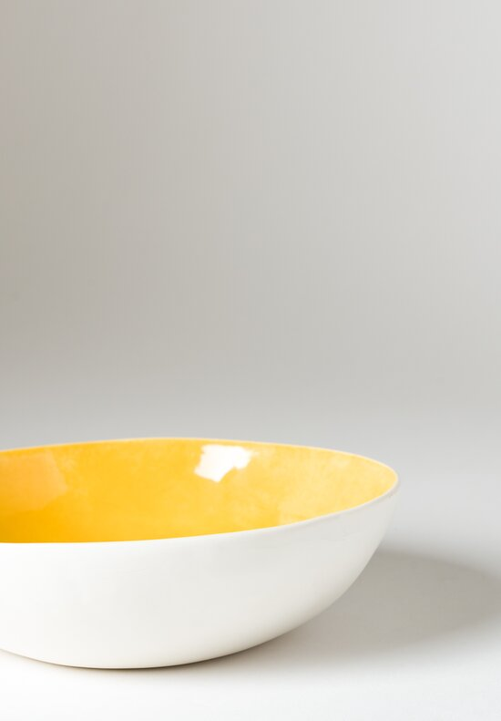 Interior Painted Shallow Soup Bowl in Giallo