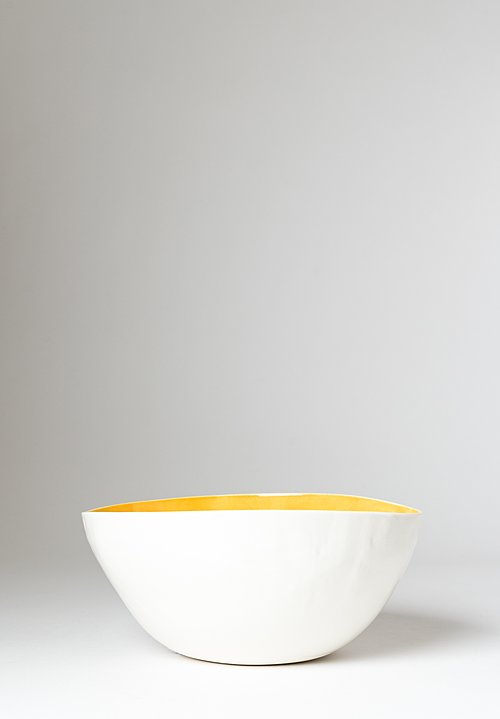 Handmade Porcelain Interior Painted Salad Bowl in Giallo Yellow