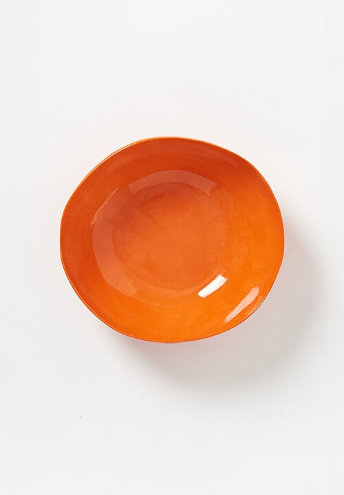 Porcelain Solid Painted Large Serving Bowl in Arancio Orange