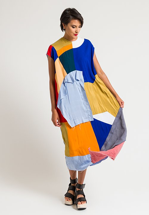 Marni Patchwork Sleeveless Dress in Illusion Blue