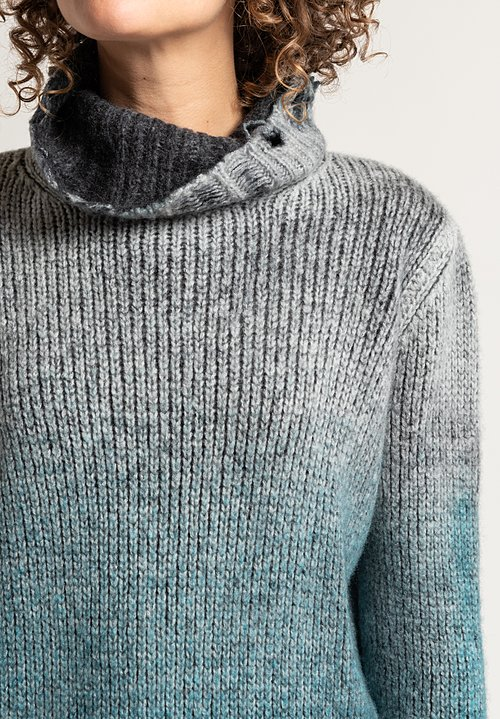 Avant Toi Distressed Cowl Neck Sweater in Turchese