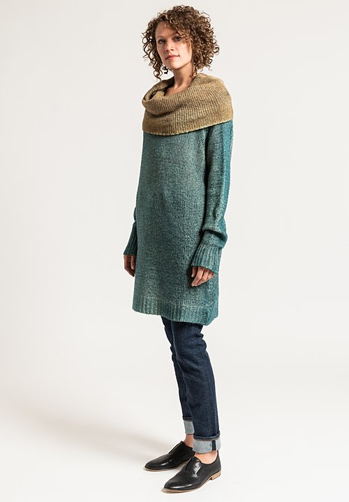 Avant Toi Relaxed Cowl Neck Sweater in Turchese/ Caramel