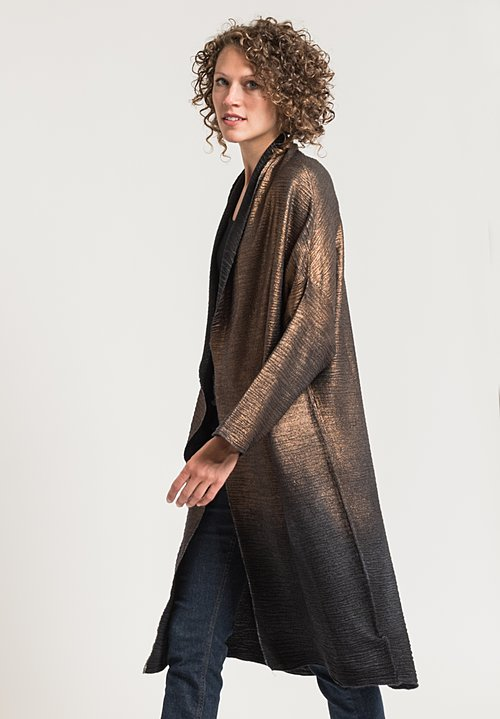 Avant Toi Metallic Oversized Cardigan in Black/ Bronze
