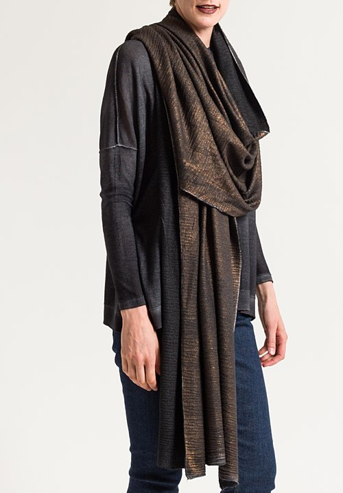 Avant Toi Metallic Textured Scarf in Chocolate/ Black
