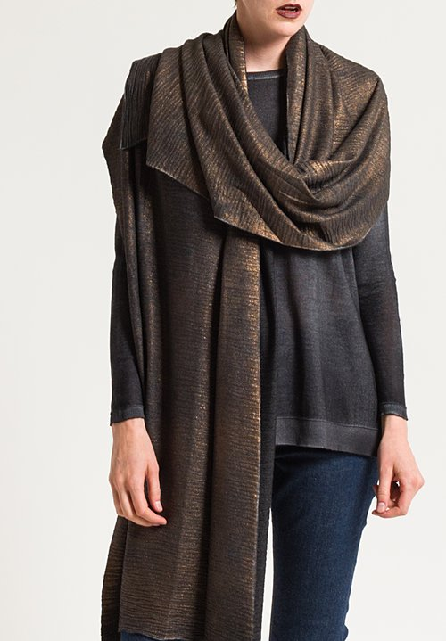 Avant Toi Metallic Textured Scarf in Old Gold/ Black