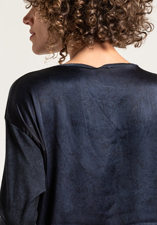 Avant Toi Printed Back Sweater in Blue Navy