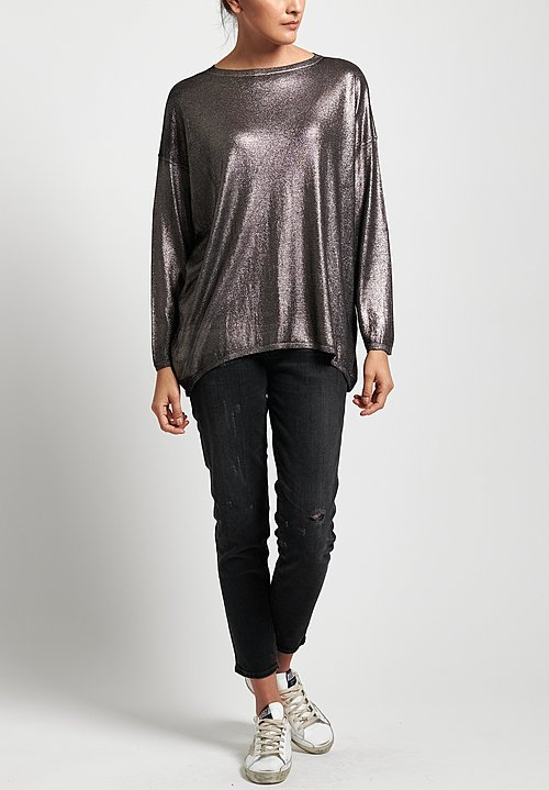 Avant Toi Metallic Sweater in Black/ Gunmetal