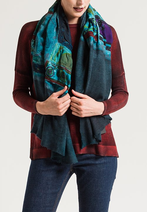 Avant Toi Small Felted Patchwork Scarf in Turchese