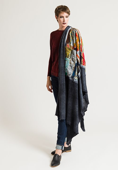 Avant Toi Felted Patchwork Scarf in Glass