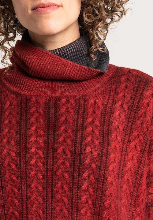 Avant Toi Cable Knit Turtleneck Sweater in Coral