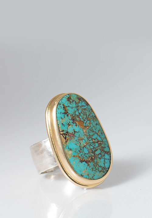 Greig Porter Large Kingman Turquoise Oval Ring
