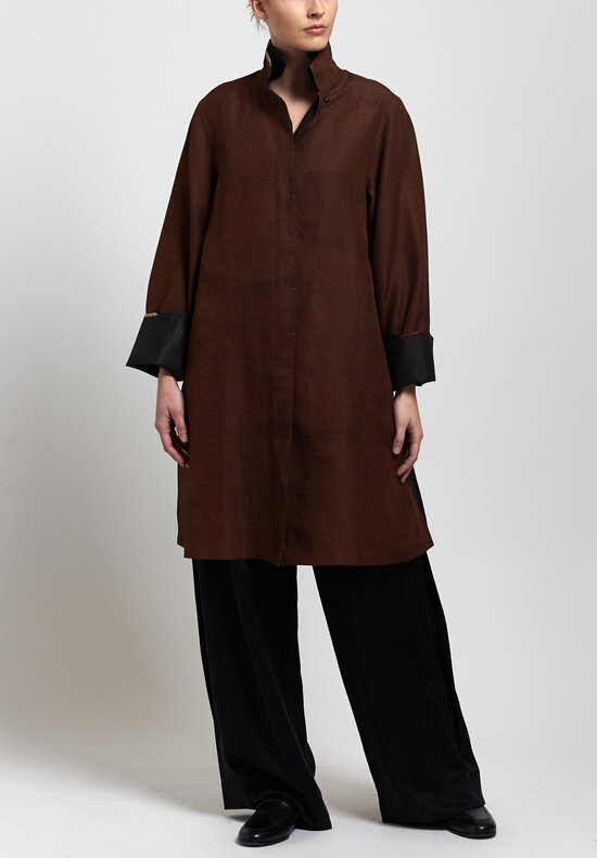 Sophie Hong Long Silk Jacket in Coffee