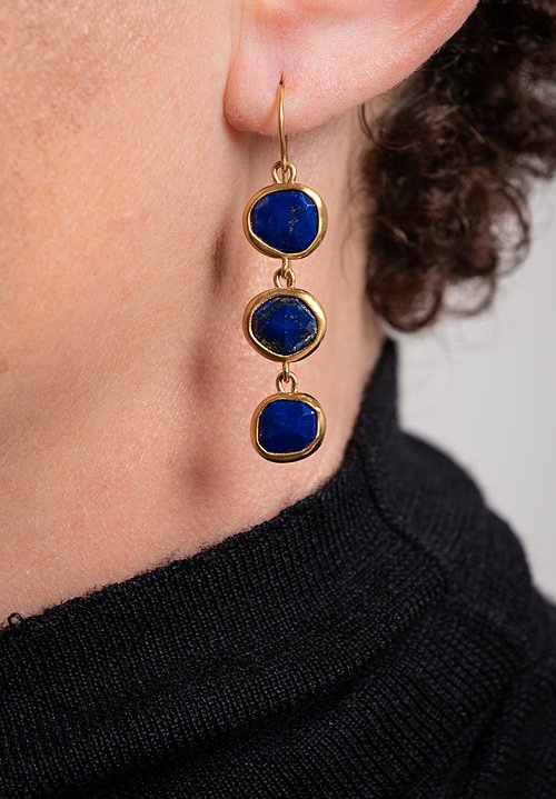 Greig Porter 22K, Lapis 3-Drop Earrings