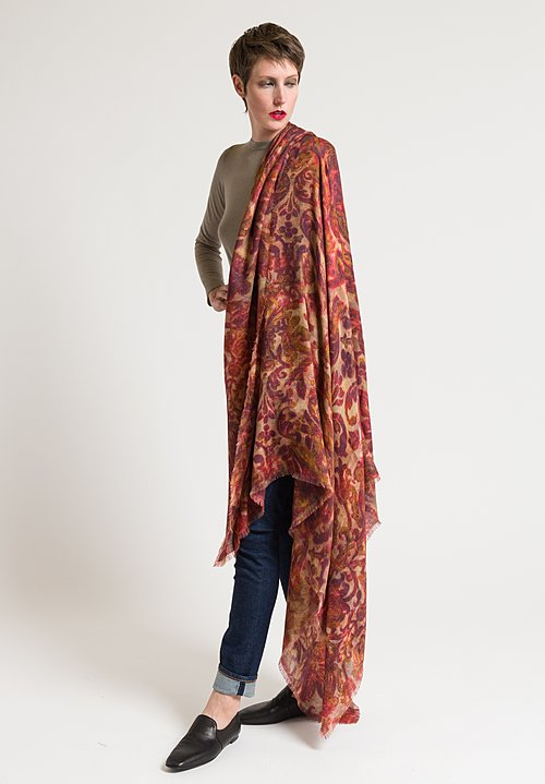 Alonpi Cashmere Printed Scarf in Velvet Red