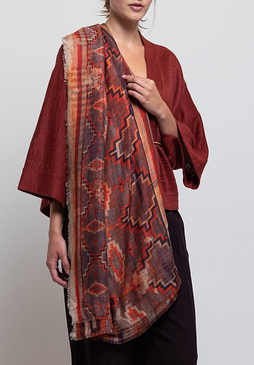 Alonpi Cashmere Printed Scarf in Cone Red