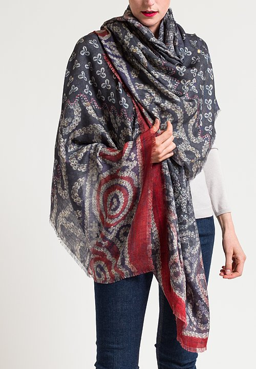 Alonpi Cashmere Printed Scarf in Tribe Navy/ Red